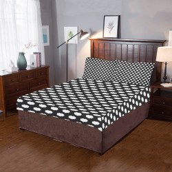 Clouds with Polka Dots on Black 3-Piece Bedding Set
