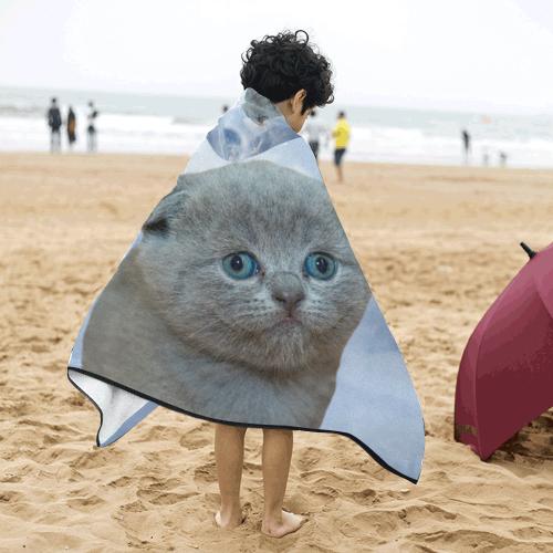 Lonely Little Kitty Kids' Hooded Bath Towels