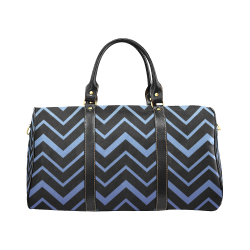 Steel Blue Chevrons on Black Background New Waterproof Travel Bag/Small (Model 1639)