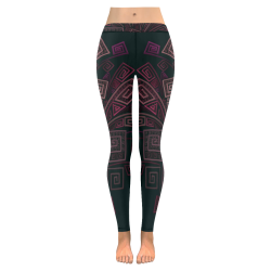 Psychedelic 3D Square Spirals - pink and orange New Low Rise Leggings (Flatlock Stitch) (Model L07)