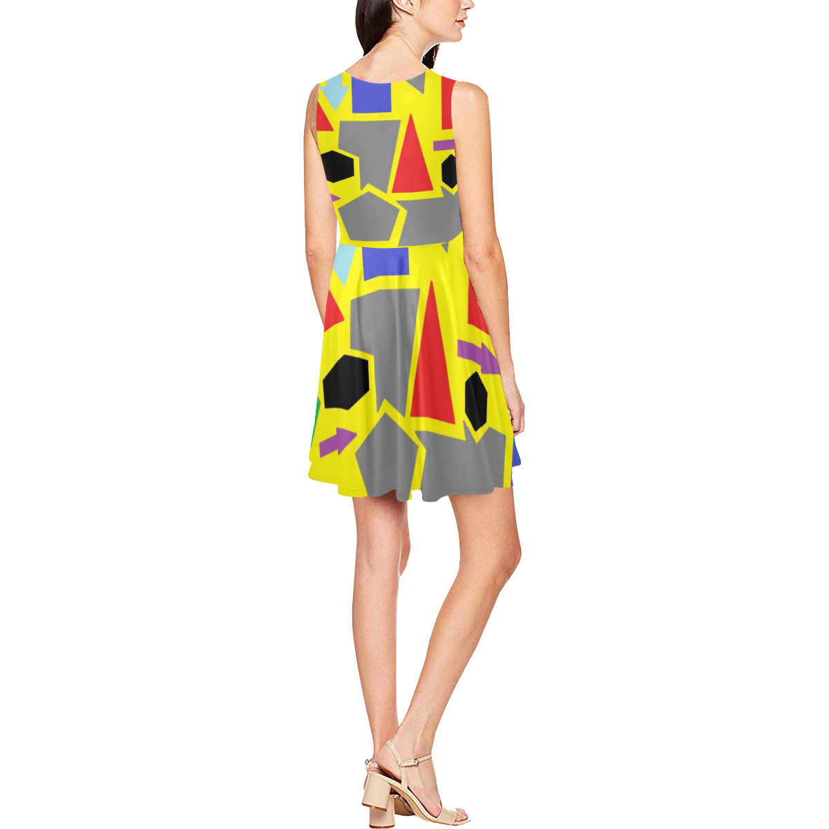 Geometric Dress Thea Sleeveless Skater Dress(Model D19)