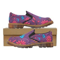 FLORAL DESIGN 3 Martin Women's Slip-On Loafer/Large Size (Model 12031)
