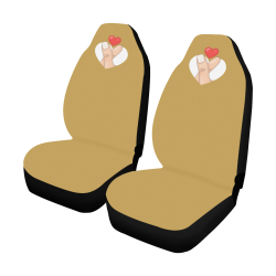 Hand With Finger Heart / Gold Car Seat Covers (Set of 2)