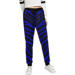 Ripped SpaceTime Stripes - Blue Women's All Over Print Sweatpants (Model L11)