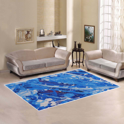 Paint Splatter on Blue - Abstract Area Rug7'x5'
