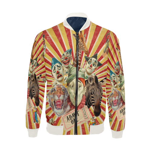 Funny Vintage Circus Clowns All Over Print Bomber Jacket for Men (Model H19)