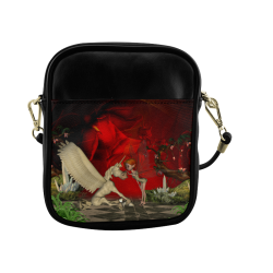 Cute little fairy and pegasus Sling Bag (Model 1627)
