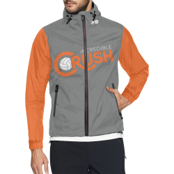 Crush Logo Wind Breaker - Grey-Orange Unisex All Over Print Windbreaker (Model H23)