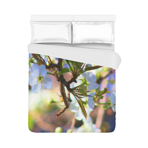 """Pear Tree Blossoms Duvet Cover 86""""x70"""" ( All-over-print)"""