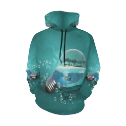 Awesome light bulb with island All Over Print Hoodie for Women (USA Size) (Model H13)