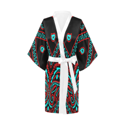 blue and red bandana version 2 Kimono Robe
