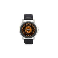 mandala naranja chakra swadisthana:atrae la abundancia y el bienestar Unisex Stainless Steel Leather Strap Watch(Model 202)