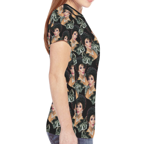 joan x 4 dbl blk New All Over Print T-shirt for Women (Model T45)