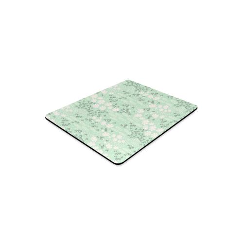 Mint Floral Pattern Rectangle Mousepad