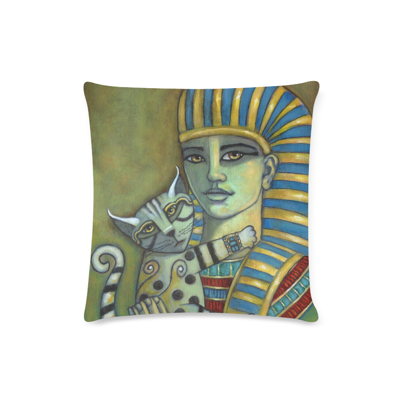 """The Pharaoh's Cat Custom Zippered Pillow Case 16""""x16""""(Twin Sides)"""