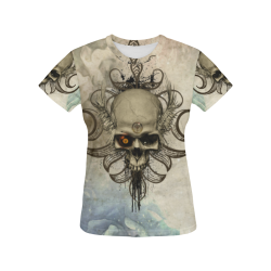 Creepy skull, vintage background All Over Print T-Shirt for Women (USA Size) (Model T40)