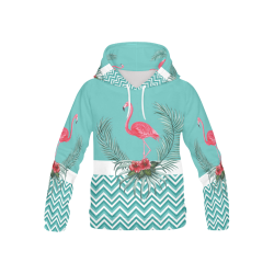 Retro Flamingo Chevron All Over Print Hoodie for Kid (USA Size) (Model H13)