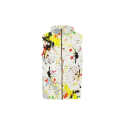 Yellow & Black Paint Splatter All Over Print Sleeveless Zip Up Hoodie for Kid (Model H16)