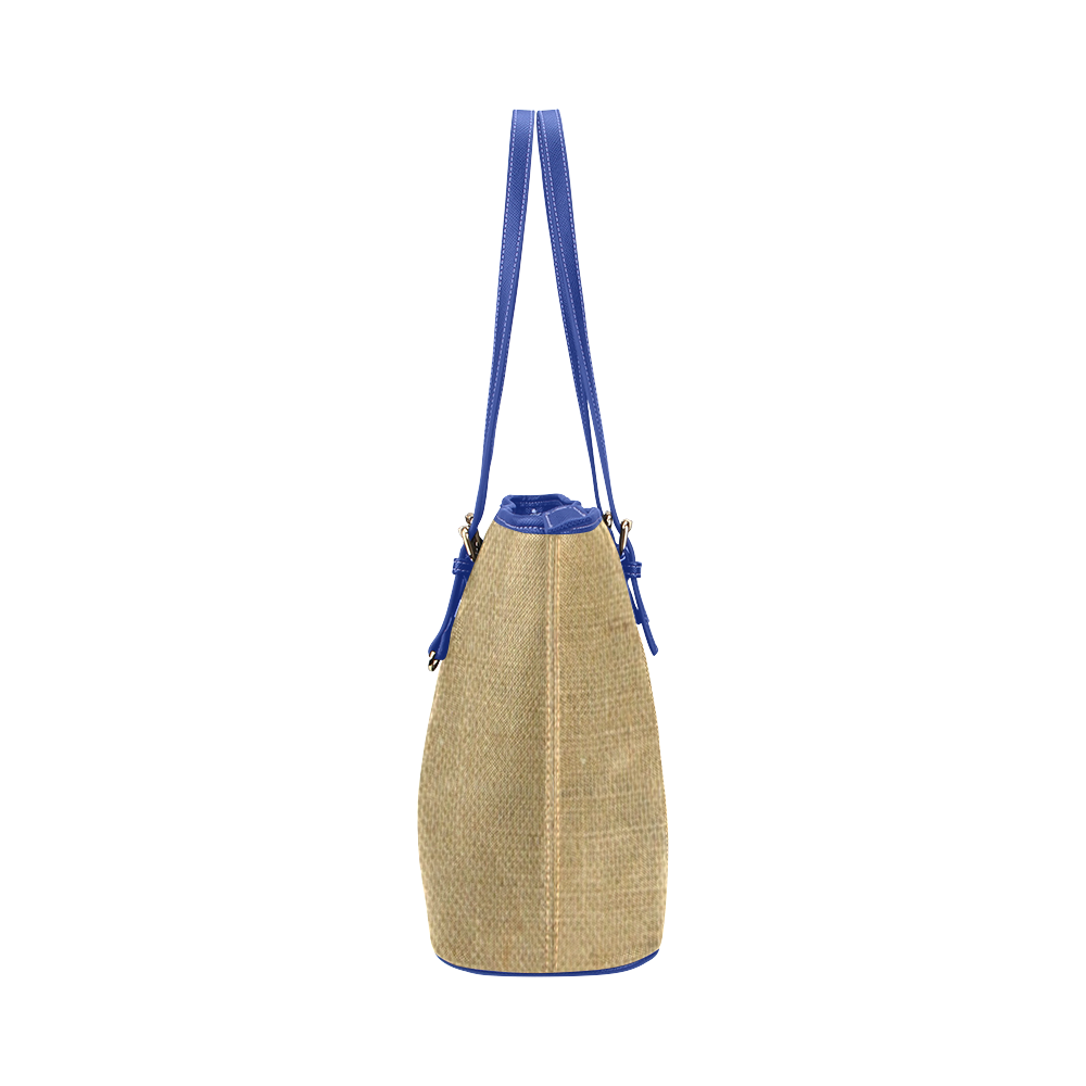 Burlap Coffee Sack in blue Leather Tote Bag/Large (Model 1651)