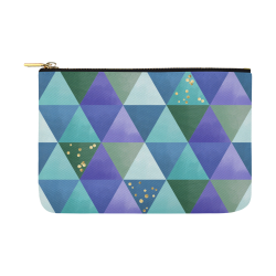 Triangle Pattern - Blue Violet Teal Green Carry-All Pouch 12.5''x8.5''