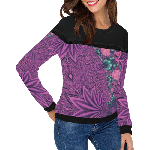 Pastel Jungle Leaves Women's Fringe Detail Sweatshirt (Model H28)