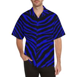 Ripped SpaceTime Stripes - Blue Hawaiian Shirt (Model T58)