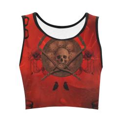 Skulls on red vintage background Women's Crop Top (Model T42)