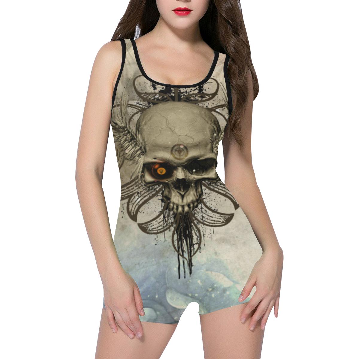 Creepy skull, vintage background Classic One Piece Swimwear (Model S03)