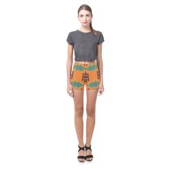 Misc shapes on an orange background Briseis Skinny Shorts (Model L04)
