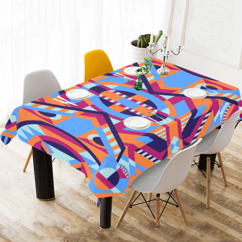 "Modern Geometric Pattern Cotton Linen Tablecloth 60""x 104"""