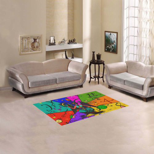 "Awesome Baphomet Popart Area Rug 2'7""x 1'8''"