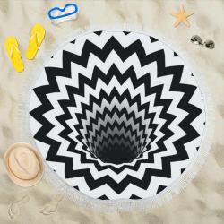 "Optical Illusion Chevron Black Hole (Black/White) Circular Beach Shawl 59""x 59"""