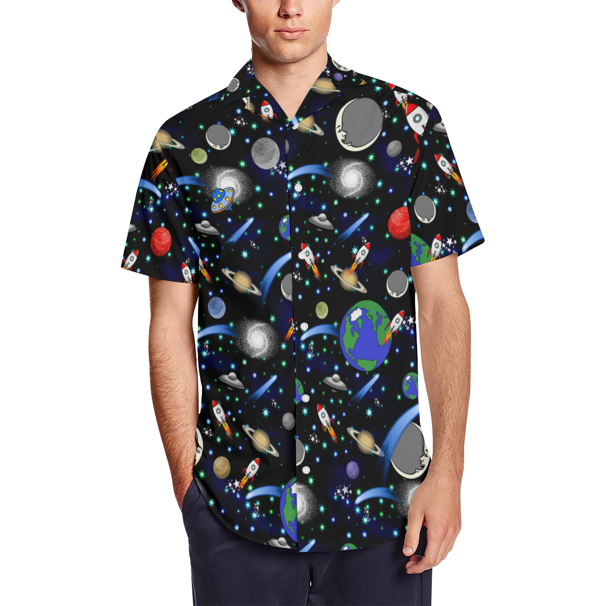 Galaxy Universe - Planets, Stars, Comets, Rockets Men's Short Sleeve Shirt with Lapel Collar (Model T54)