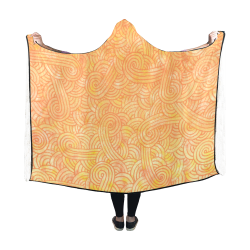 Orange and yellow swirls doodles Hooded Blanket 60''x50''