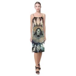 Awesome scary skull Alcestis Slip Dress (Model D05)