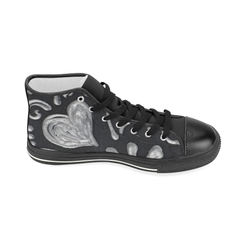 Silver heart Women's Classic High Top Canvas Shoes (Model 017)