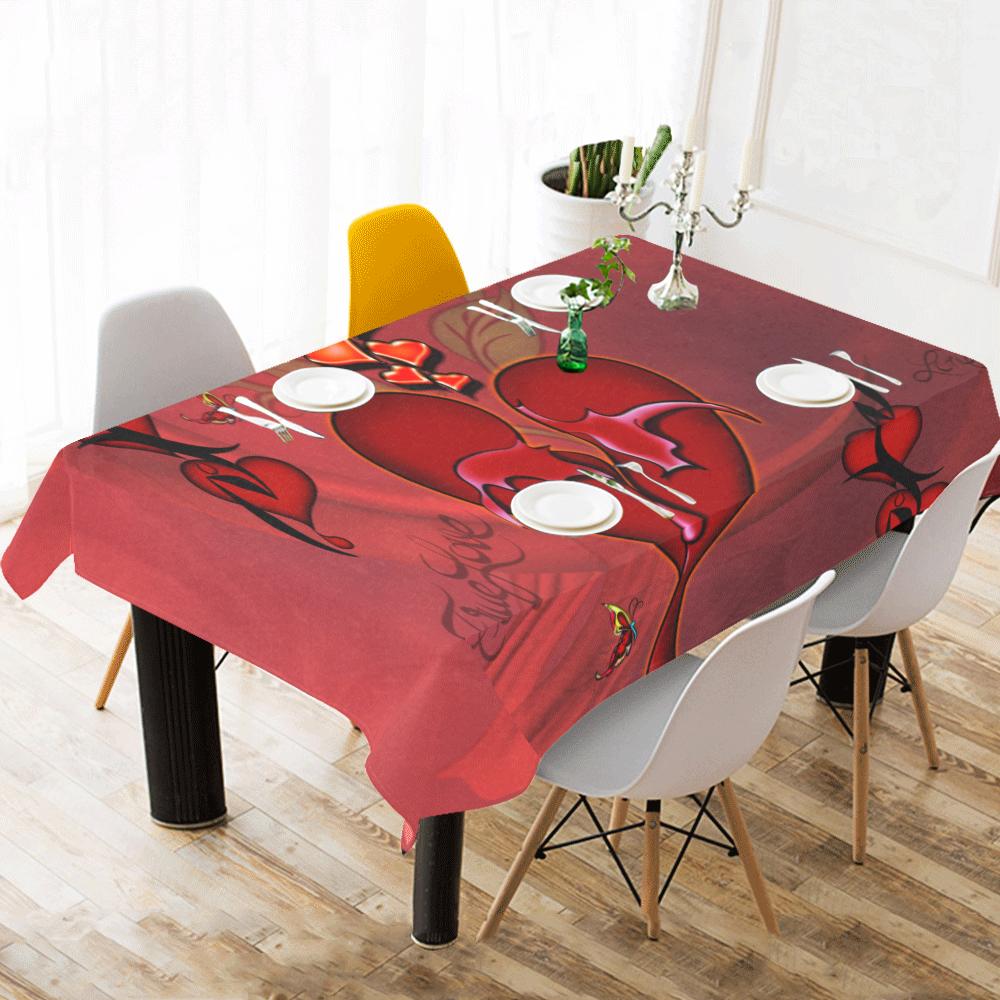 "Wonderful hearts Cotton Linen Tablecloth 60""x 104"""