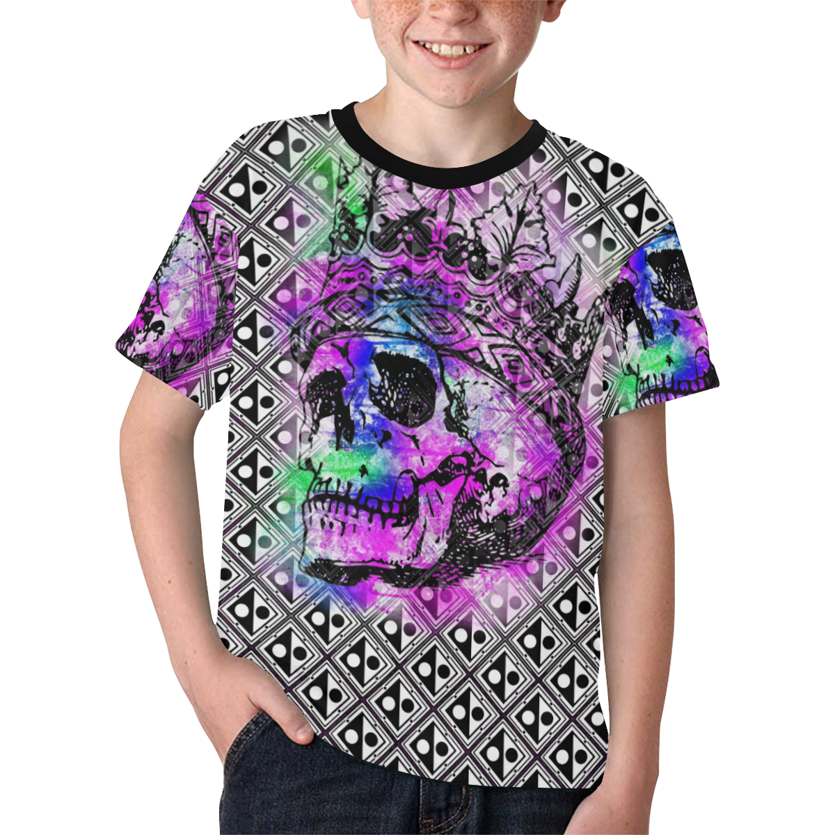 PATTERN SKULL ABSTRACT Kids' All Over Print T-shirt (Model T65)