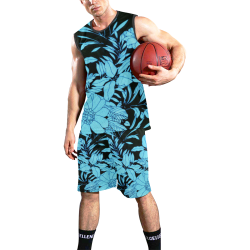 blue floral watercolor All Over Print Basketball Uniform