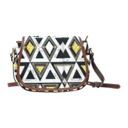 Classic Gold Glitter diamond shapes  large saddle bag Saddle Bag/Large (Model 1649)