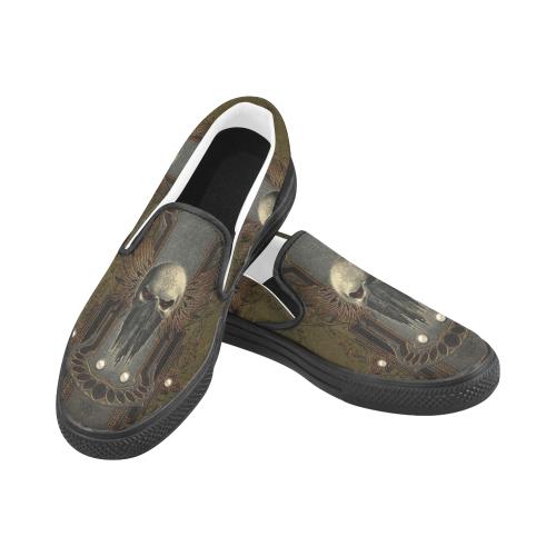 Awesome dark skull Women's Slip-on Canvas Shoes (Model 019)