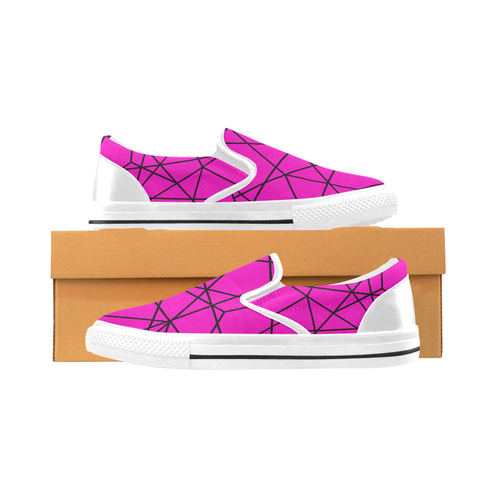 Abstract Women's Unusual Slip-on Canvas Shoes (Model 019)