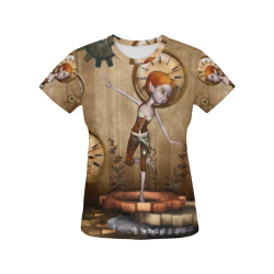 Steampunk girl, clocks and gears All Over Print T-Shirt for Women (USA Size) (Model T40)