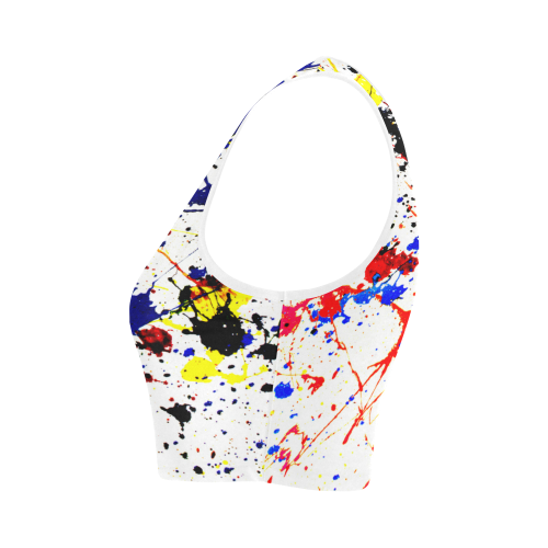 Blue & Red Paint Splatter Women's Crop Top (Model T42)