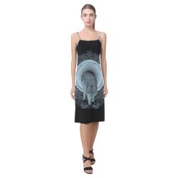 Wolf in black and blue Alcestis Slip Dress (Model D05)