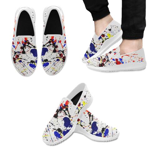 Blue & Red Paint Splatter (White) Orion Slip-on Men's Canvas Sneakers (Model 042)
