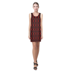 Abstract Flowing * Red on Black Helen Sleeveless Dress (Model D10)