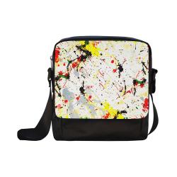Yellow & Black Paint Splatter Crossbody Nylon Bags (Model 1633)