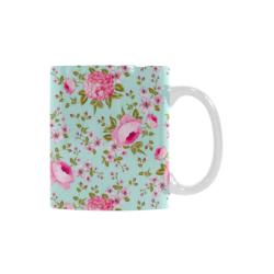 Peony Pattern White Mug(11OZ)