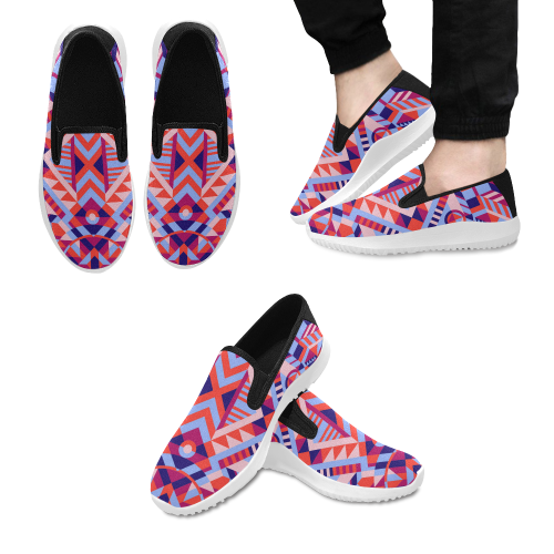 Modern Geometric Pattern Orion Slip-on Men's Canvas Sneakers (Model 042)
